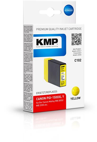 KMP Patrone C102 komp. PGI-1500XL M für Canon Maxify MB 2050 / MB 2350 yellow