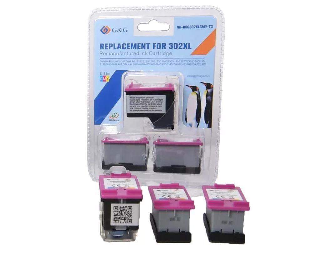 3x G&G Image ECO-SAVER kompatibel zu HP 302XL/ F6U67AE Color, 1x Adapter + 3x XL-Tintentanks Color