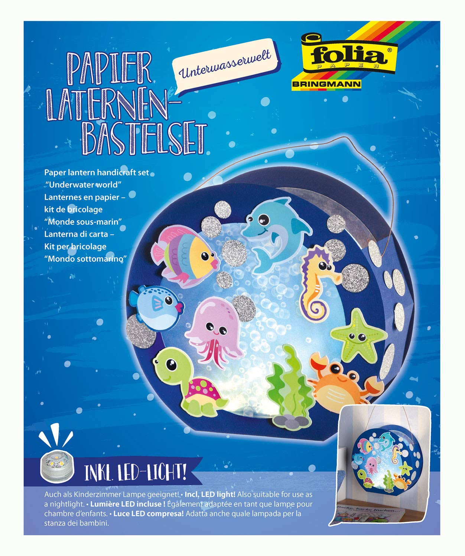 Folia 68105 Laternen-Bastelset, Unterwasserwelt, inklusive Laternenstab und LED Licht, bunt