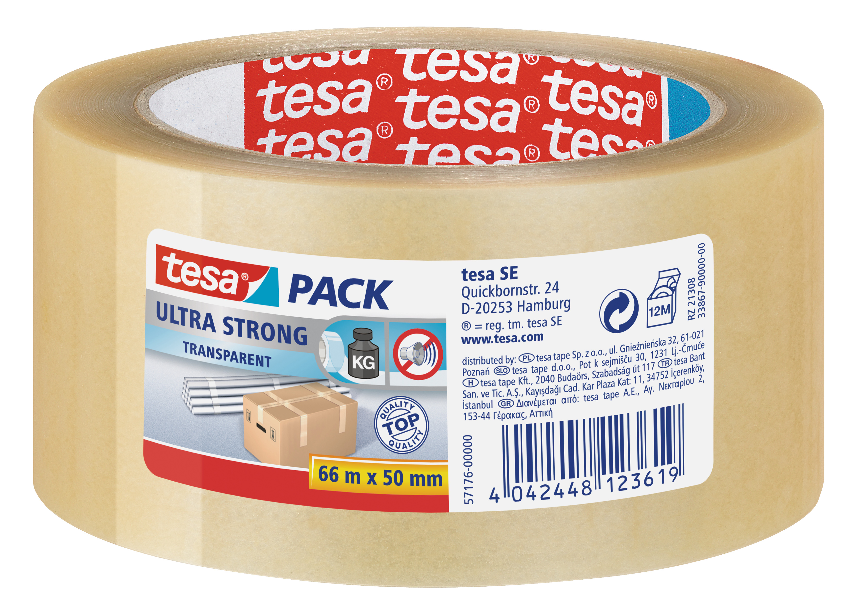 GP: 0,05 EUR/m tesa tesapack ultra strong, transparent ( PVC ) 66m x 50mm