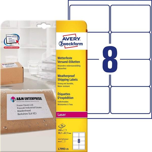 AVERY Zweckform L7993-25 Versand-Etiketten (A4, 200 Stück, 99,1 x 67,7 mm, 25 Blatt) weiß