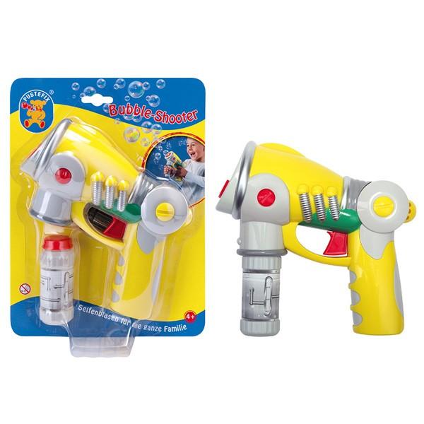 Pustefix – Bubble-Shooter + 55 ml Seifenblasenflüssigkeit – Seifenblasen – Flüssigkeits-Tank – Bubbl