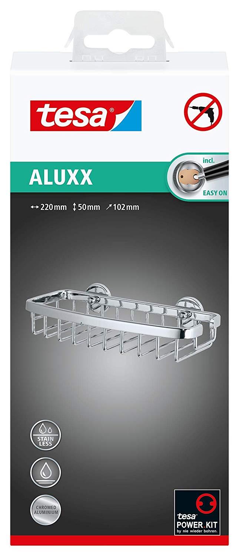 Tesa Aluxx Duschkorb Gr. S (zum Kleben, Aluminium, verchromt, rostfrei, inkl. Klebelösung, 50mm x 22