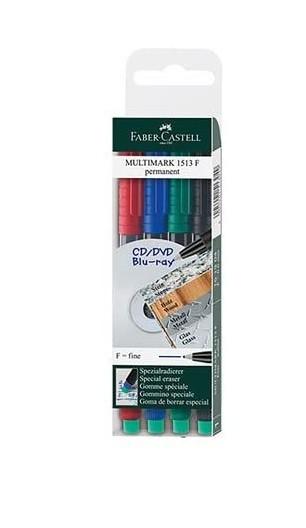 Faber-Castell 151304 - Marker MULTIMARK permanent, Stärke: F, 4er Etui, Inhalt: je 1x rot, blau, grü