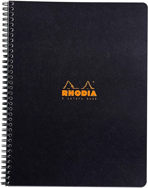 Rhodia 19320C 4 Colour Book (mit Spiralbindung, kariert, 22,5 x 29,7 cm, 80 Blatt) 1 Stück farbig so