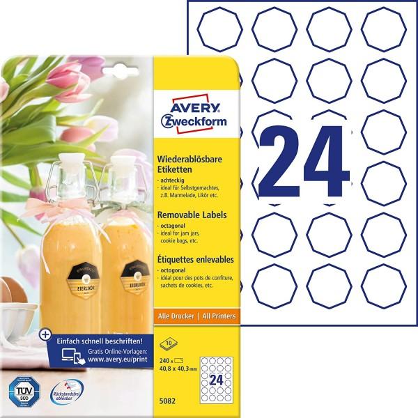 AVERY Zweckform Flaschenetiketten Art. 5082 (240 Aufkleber ablösbar, 40,8 x 40,3mm auf A4, achteckig