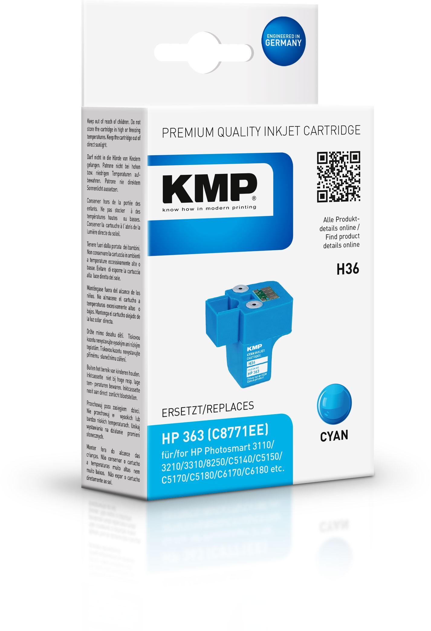 Vorschau: KMP Patrone H36 komp. C8771EE HP363 für HP Photosmart 8250 cyan