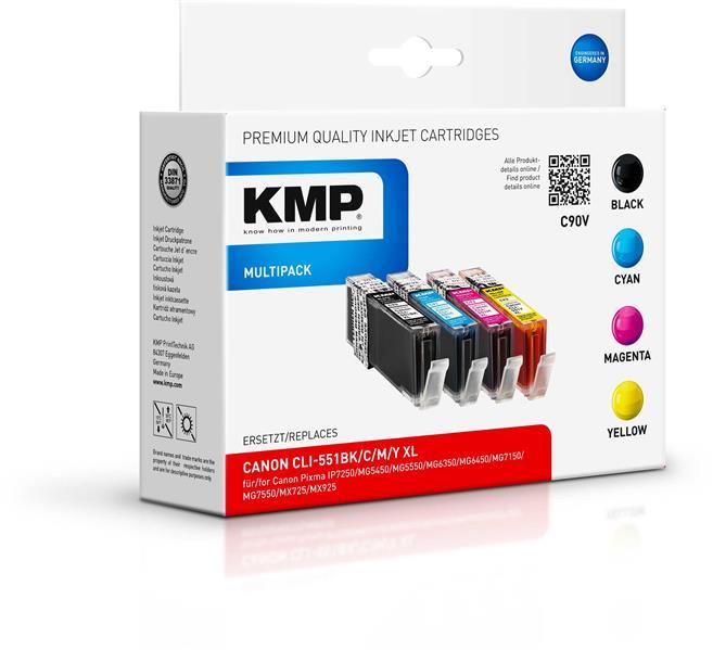 KMP Vorteilspack C90V für Canon CLI-551Bk c m y XL Pixma IP7250 etc.