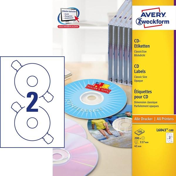 AVERY Zweckform L6043-100 selbstklebende CD-Etiketten (200 blickdichte CD-Aufkleber, Ø 117mm auf A4,