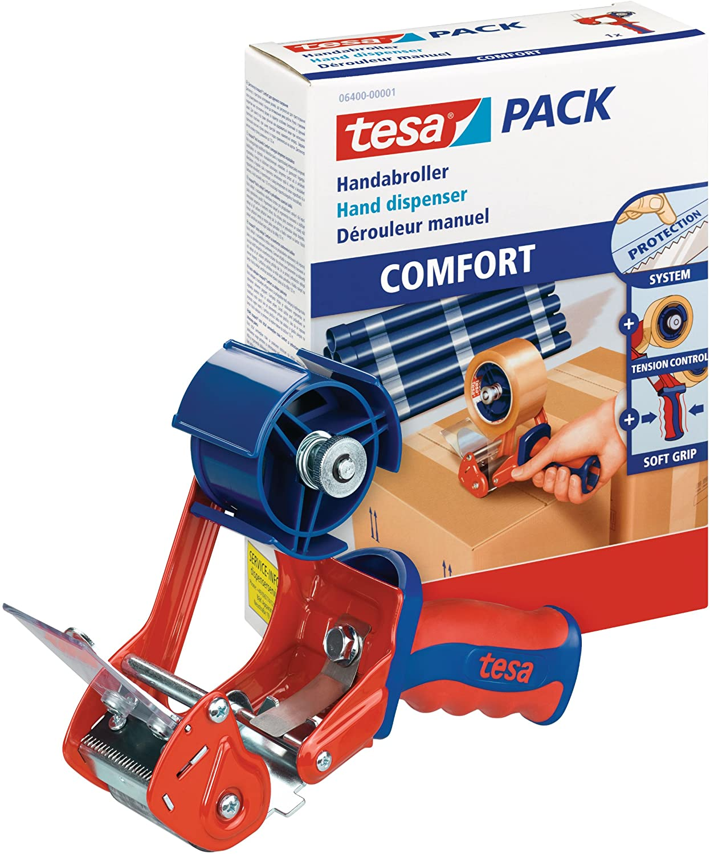 tesa 6400 Packband Handabroller COMFORT - Hochwertiger, robuster Abroller für Paketbänder - Profi-Qu