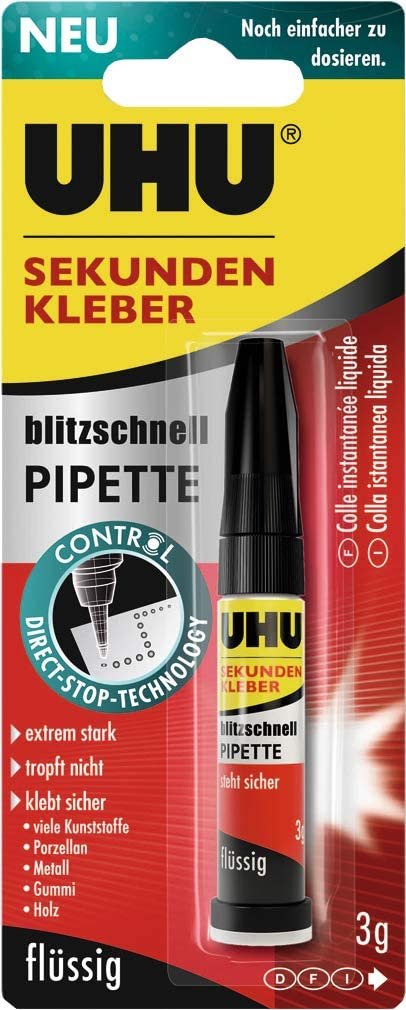 UHU 45570 Sekundenkleber blitzschnell Pipette Control, 3g