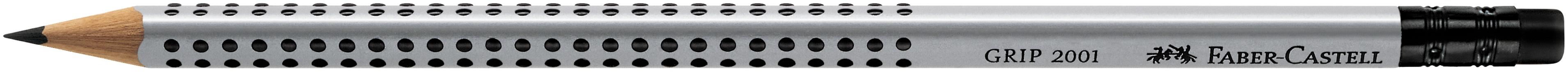 Faber-Castell Bleistift GRIP 2001 - B, mit Radierer, silbergrau