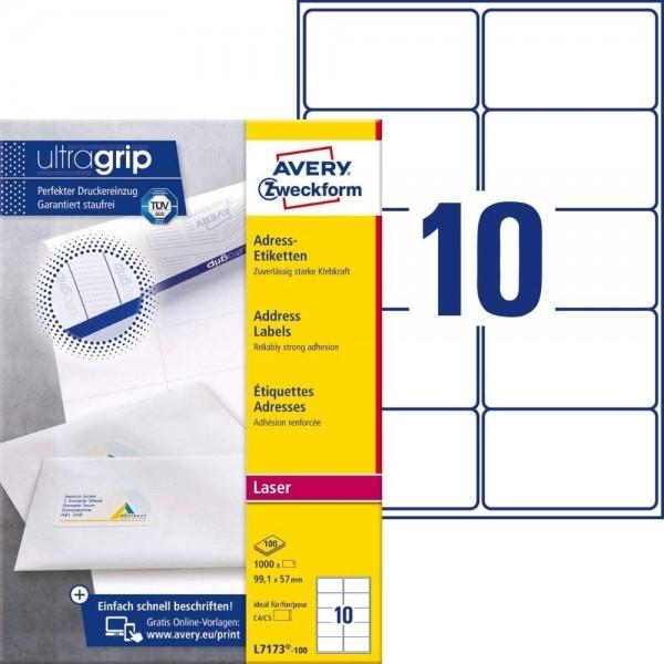 AVERY Zweckform L7173-100 Adressetiketten/Adressaufkleber (1.000 Etiketten mit ultragrip, 99,1x57mm