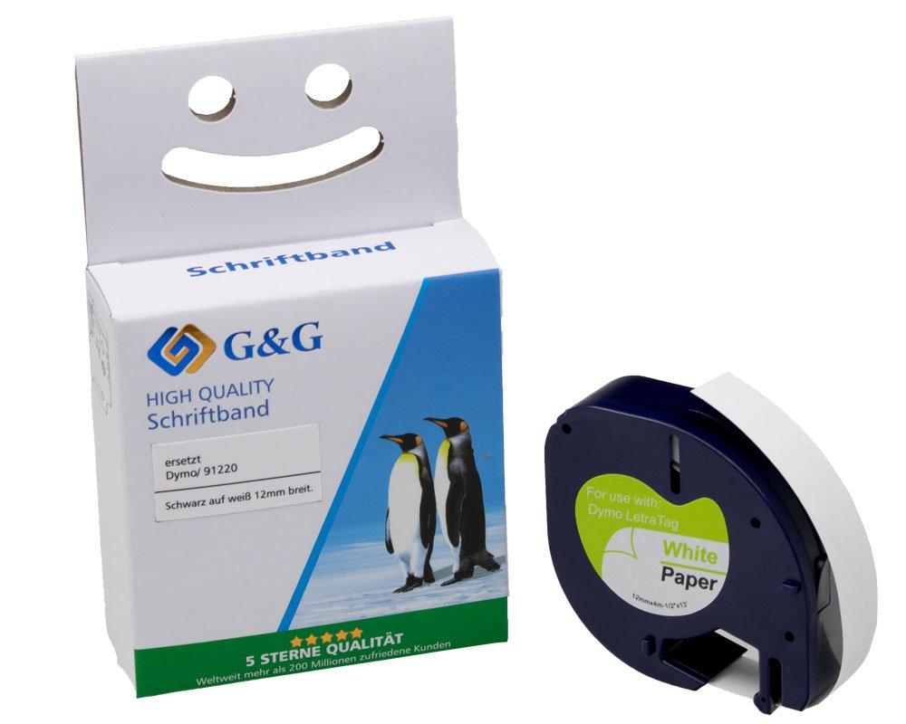 G&G Schriftband kompatibel zu Dymo D1/ 91220/ S0721520 (12mm x 4m) schwarz auf weiß PAPIER
