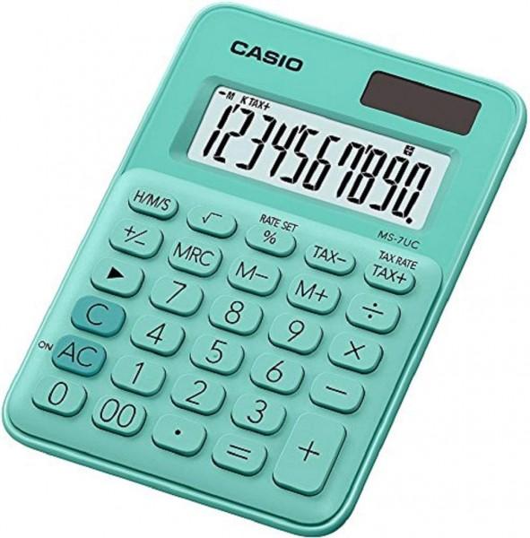 Casio MS-7UC-GN Mini Tischrechner in Trendfarbe, 10-stellig, in drei Farbvarianten