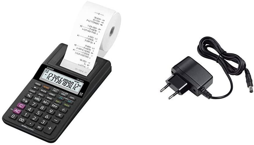 Casio HR-8RCE-BK-S Drucker, 12 stelliger Taschenrechner. & AD-A60024 Netzadapter für druckende Tisch