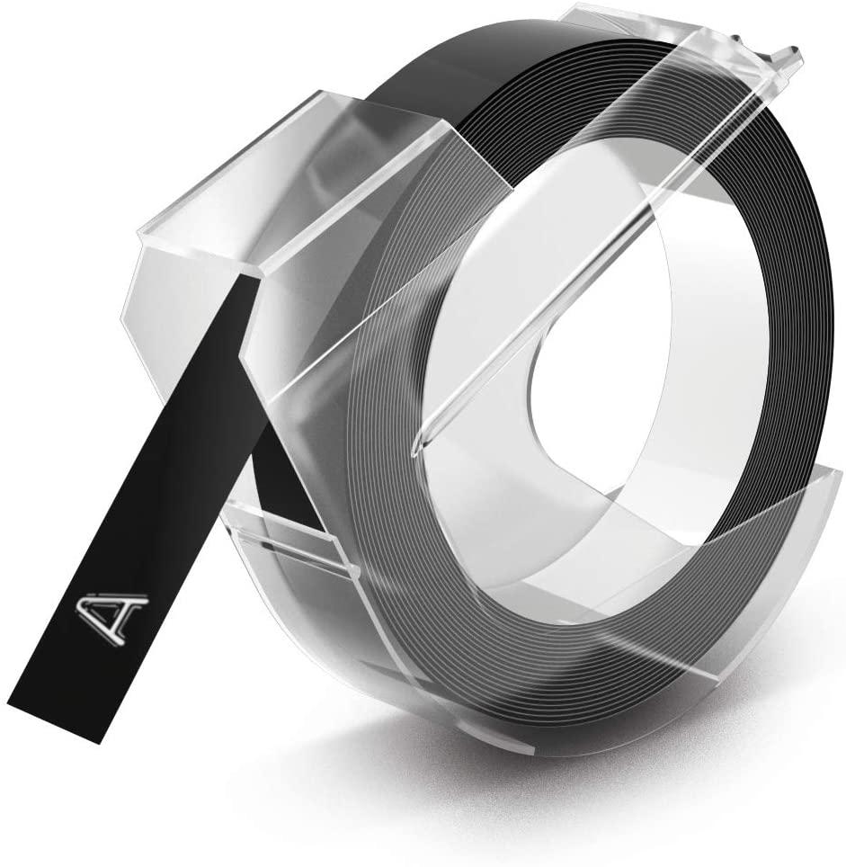 Dymo-Prägeetiketten (selbstklebend, 9 mm x 3 m) weiß auf schwarz