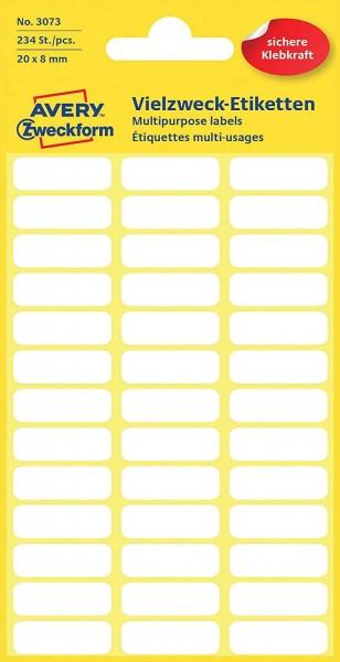 Avery Zweckform 3073 Haushaltsetiketten selbstklebend (20 x 8 mm, 234 Aufkleber auf 6 Bogen, Vielzwe