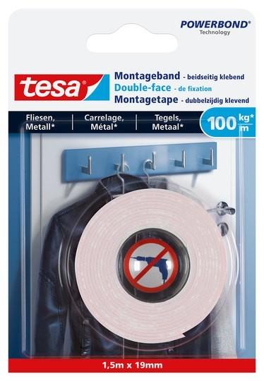 tesa Montageband Fliesen, 100 kg, 1,5 m x 19 mm