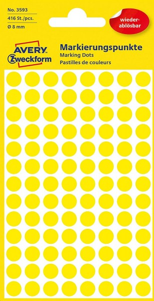 AVERY Zweckform 3593 selbstklebende Markierungspunkte (Ø 8 mm, 416 ablösbare Klebepunkte auf 4 Bogen