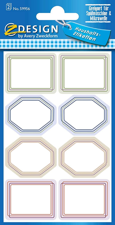 AVERY Zweckform 59956 Haushaltsetiketten selbstklebend 16 Aufkleber Formen (Marmeladenetiketten zum