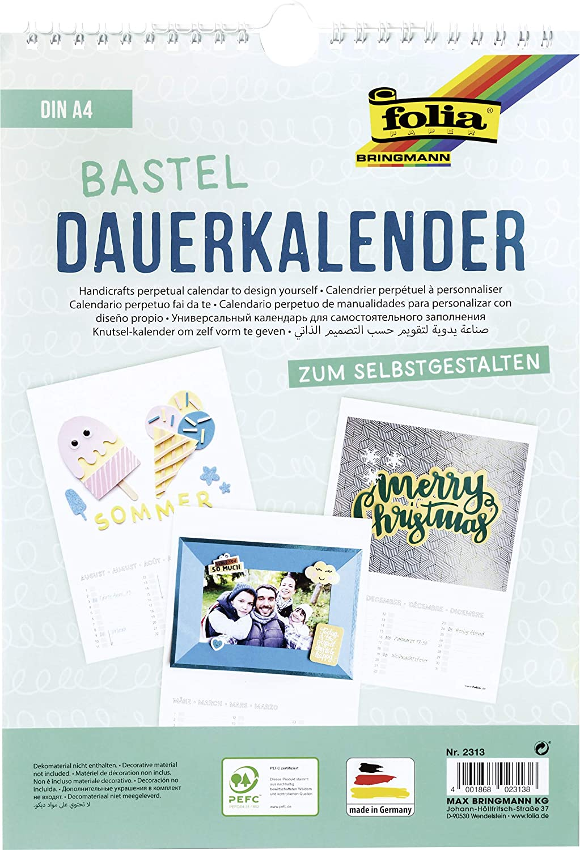 Folia 2313 - Dauerkalender mit Spiralbindung, DIN A4, 130g/m², weiß