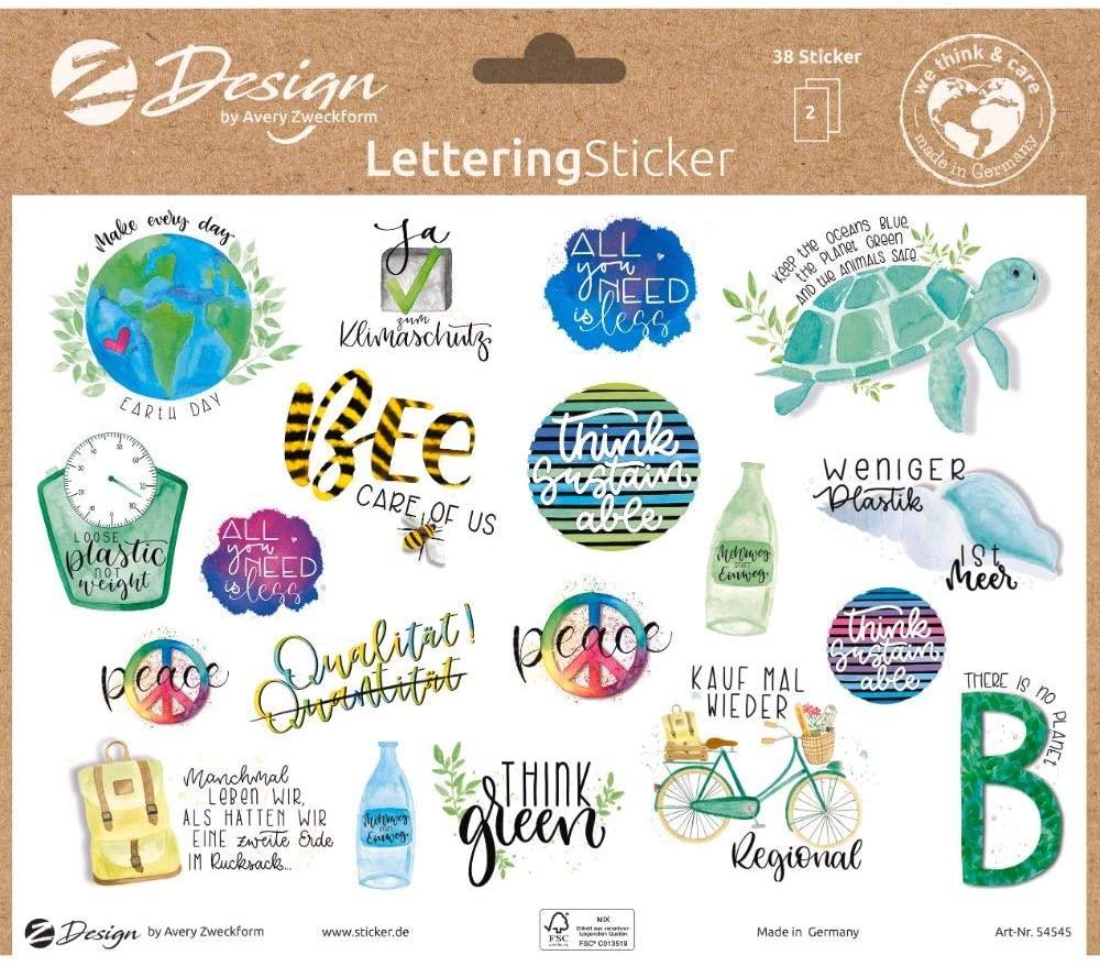 AVERY Zweckform 54545 Lettering Sticker 38 Aufkleber Umwelt Statements und Sprüche (Sticker auf A5 B