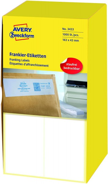AVERY Zweckform 3433 Frankier-Etiketten (Papier matt, 1.000 Etiketten, 163 x 43 mm) 1 Pack weiß