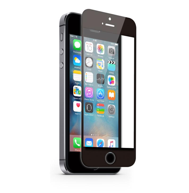 KMP Schutzglas für Apple iPhone 5, 5s,  schwarz / black