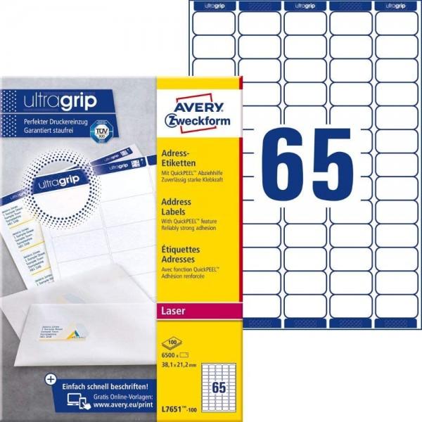 AVERY Zweckform L7651-100 Adressetiketten/Adressaufkleber (6.500 Etiketten mit ultragrip, 38,1x21,2m