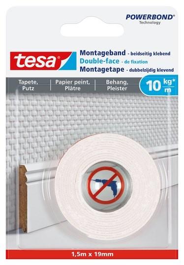 tesa Montageband Tapete & Putz, 10 kg 1,5 m x 19 mm