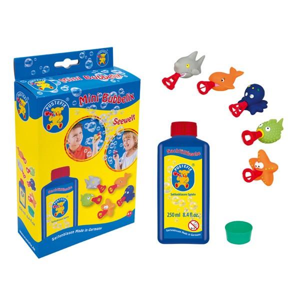 Pustefix – Mini Bubbelix Seewelt + 250 ml Seifenblasenflüssigkeit - Seifenblasen – 5 Meeresbewohner