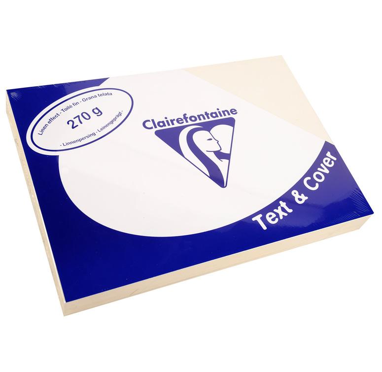 Clairefontaine Leinengeprägtes Papier 270 g/m² DIN-A4 Elfenbein 100 Blatt