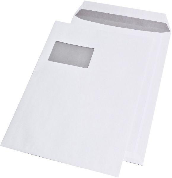 250x Versandtaschen Haftklebend C4 mit Fenster weiß, 90g/m²
