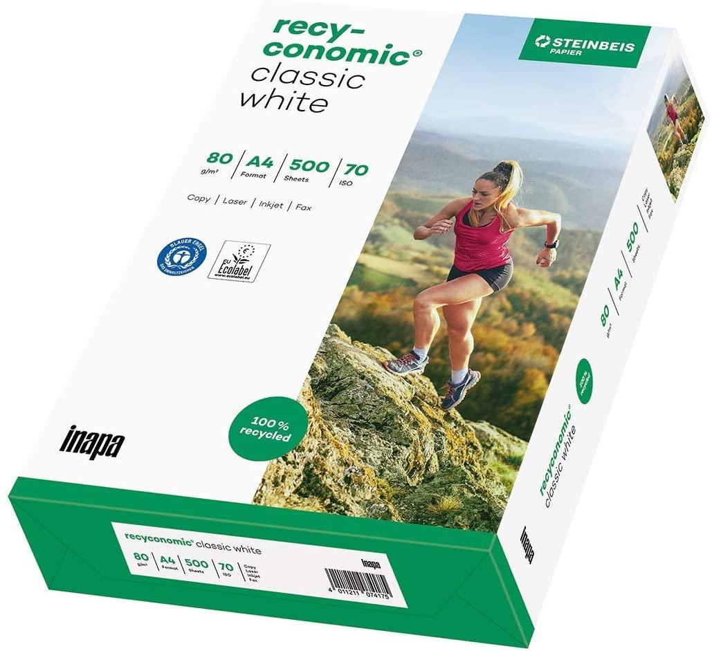 inapa Recycling-Druckerpapier Recyconomic classic white, 80 g/m², A4, 500 Blatt, CIE-Weiße: 55 (Recy