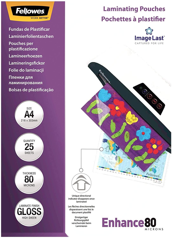 Fellowes ImageLast Laminierfolien 80 Mikron, DIN A4 (25er Pack) 53962