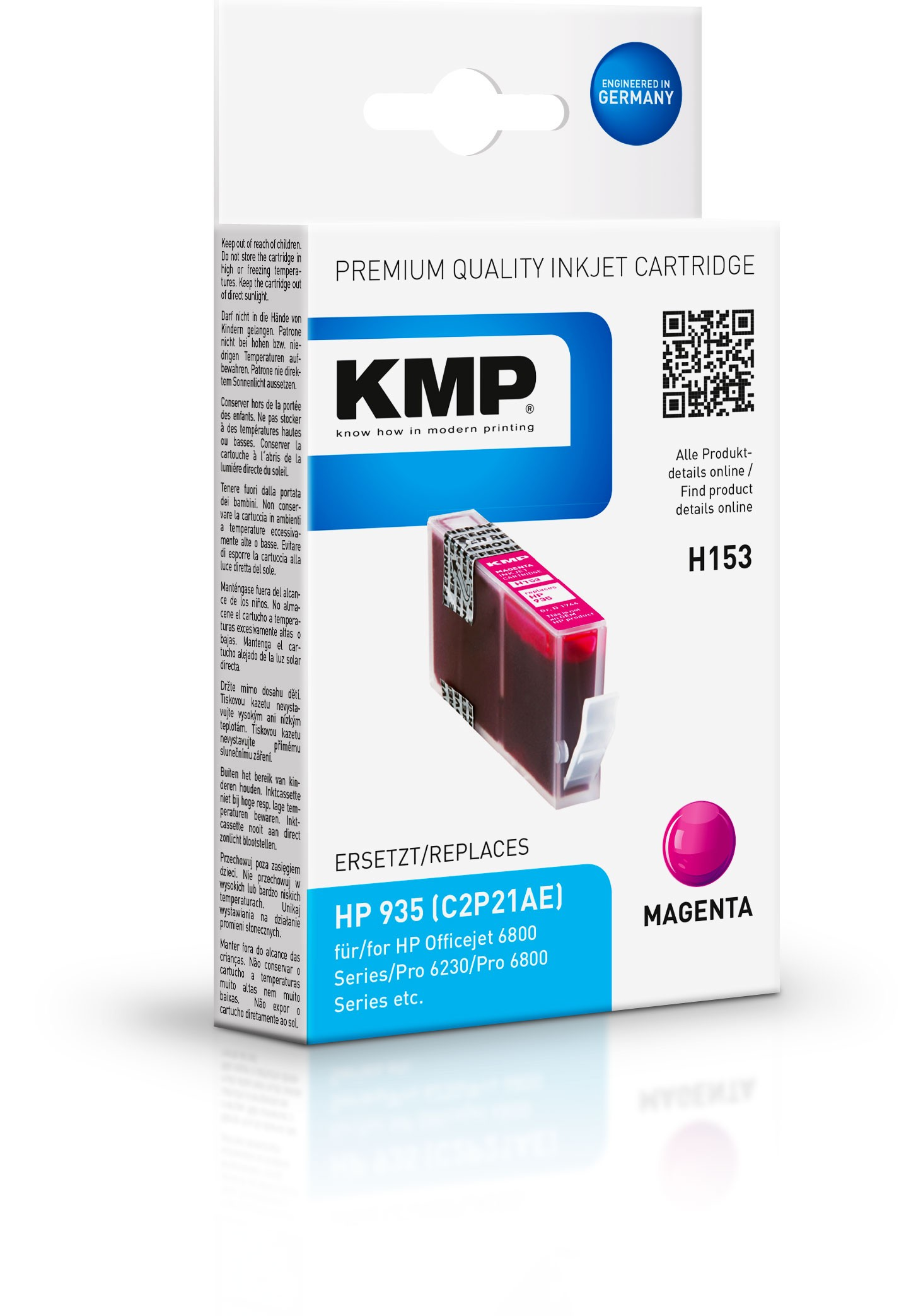 KMP Patrone H153 für C2P21AE HP935 Officejet 6800 etc. magenta
