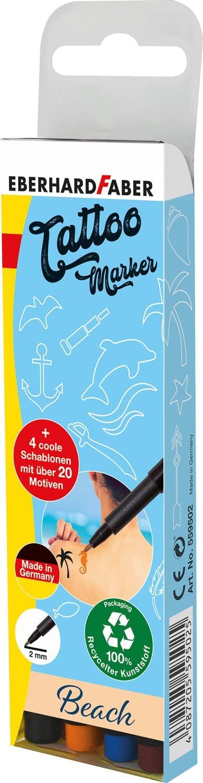 Eberhard Faber 559502 - Tattoostifte Set Beach mit 4 Markern in unterschiedlichen Farben und 4 Schab