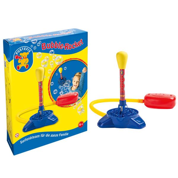Pustefix – Bubble-Rocket + 220 ml Seifenblasenflüssigkeit – Seifenblasen – Abschusssockel – Bubble -