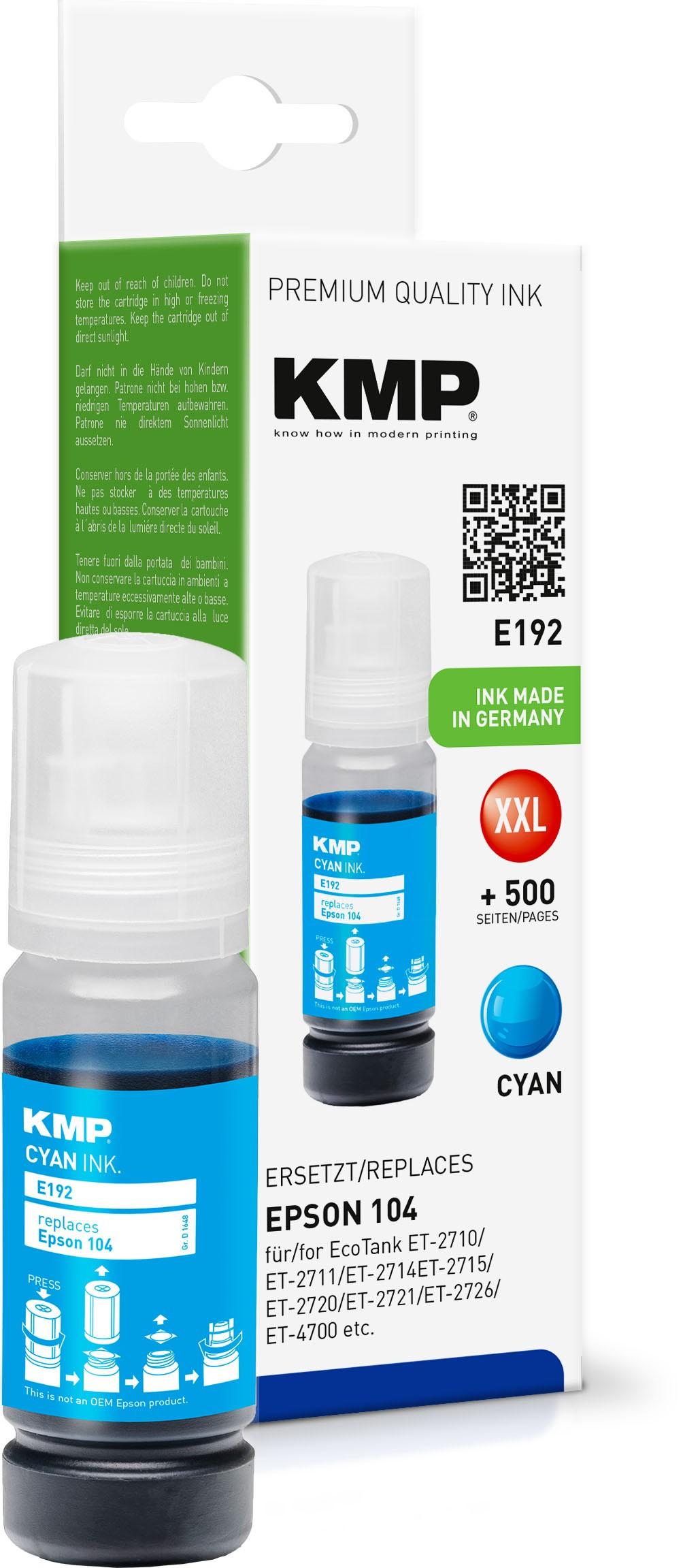 KMP E192 cyan Tintenpatrone ersetzt Epson EcoTank 104 (T0DP2)