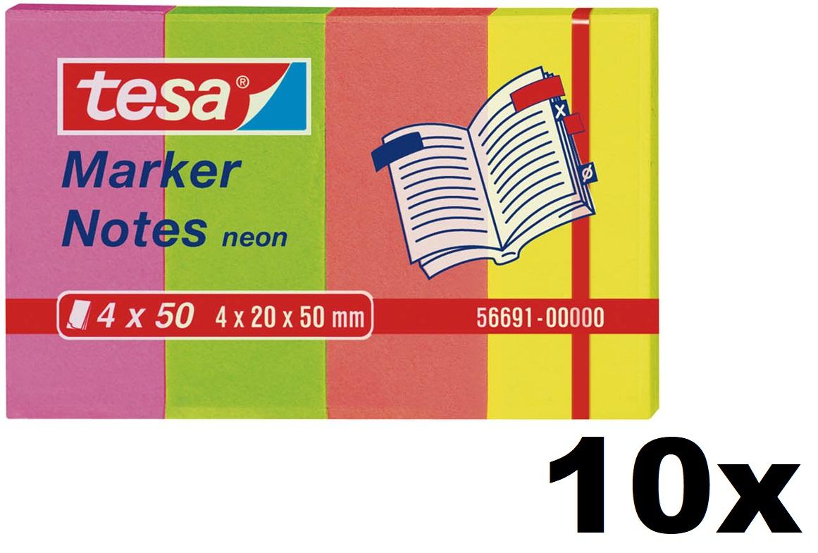 10x tesa Marker Notes, 4 x 50 Blatt, neon 20mm x 50mm
