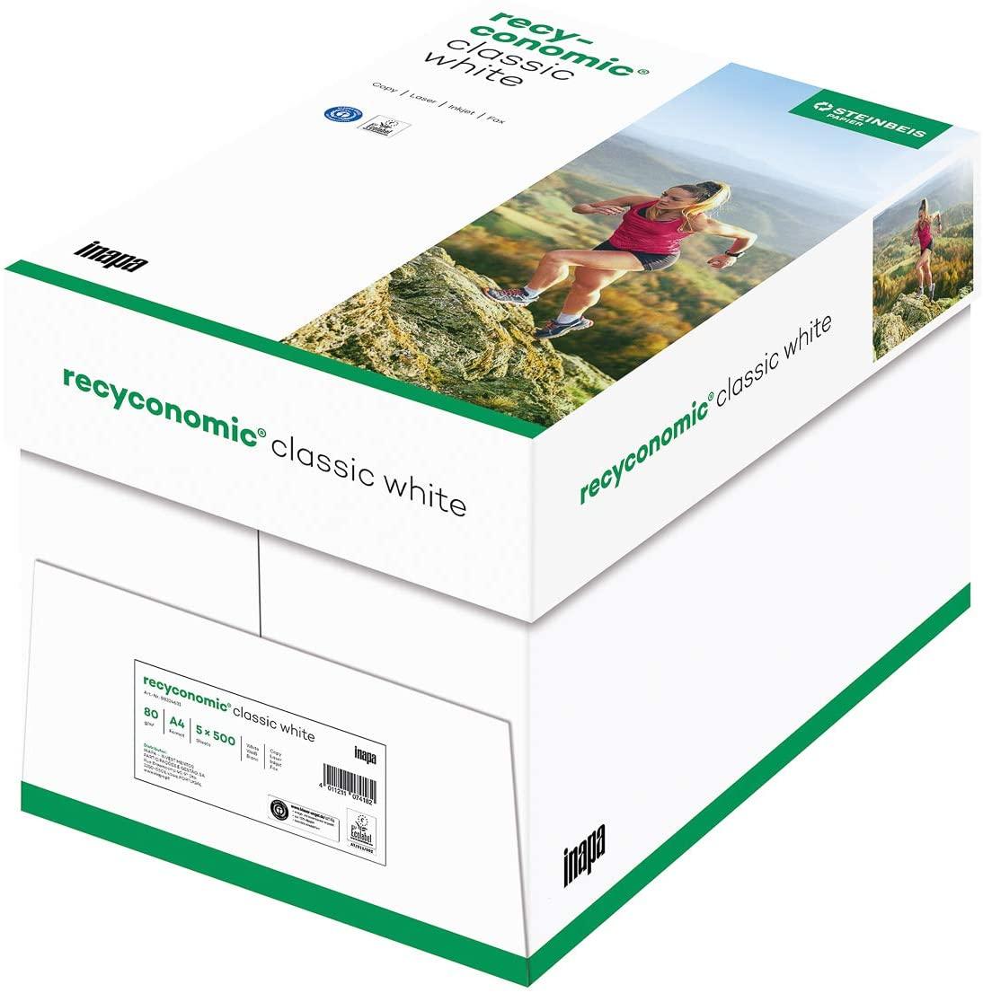 inapa Recycling-Druckerpapier Recyconomic ClassicWhite, 80g, A4, CIE-Weiße: 55 (recycling-grau), 250