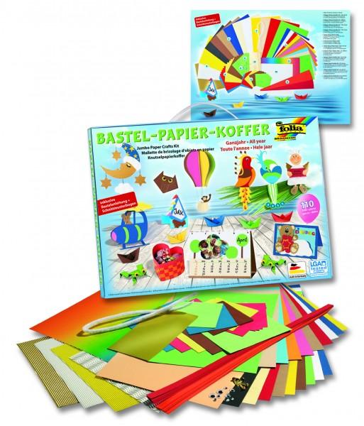 folia 930 - Bastelpapierkoffer Ganzjahr, 110 Teile - Kreativset für Kinder und Erwachsene mit Bastel