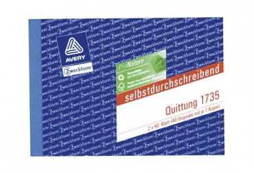 2 St/ück AVERY Zweckform 1735 Quittung wei/ß//gelb A6 quer, MwSt. separat ausgewiesen, 2x40 Blatt