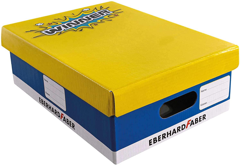 Eberhard Faber 579990 - Schulbox aus festem Karton, Aufbewahrungsbox mit Deckel, Beschriftungsfelder