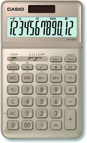 Casio JW-200SC-GD eleganter Tischrechner, 12-stelliges LC-Display mit Rechenbefehl-Anzeige, in siebe
