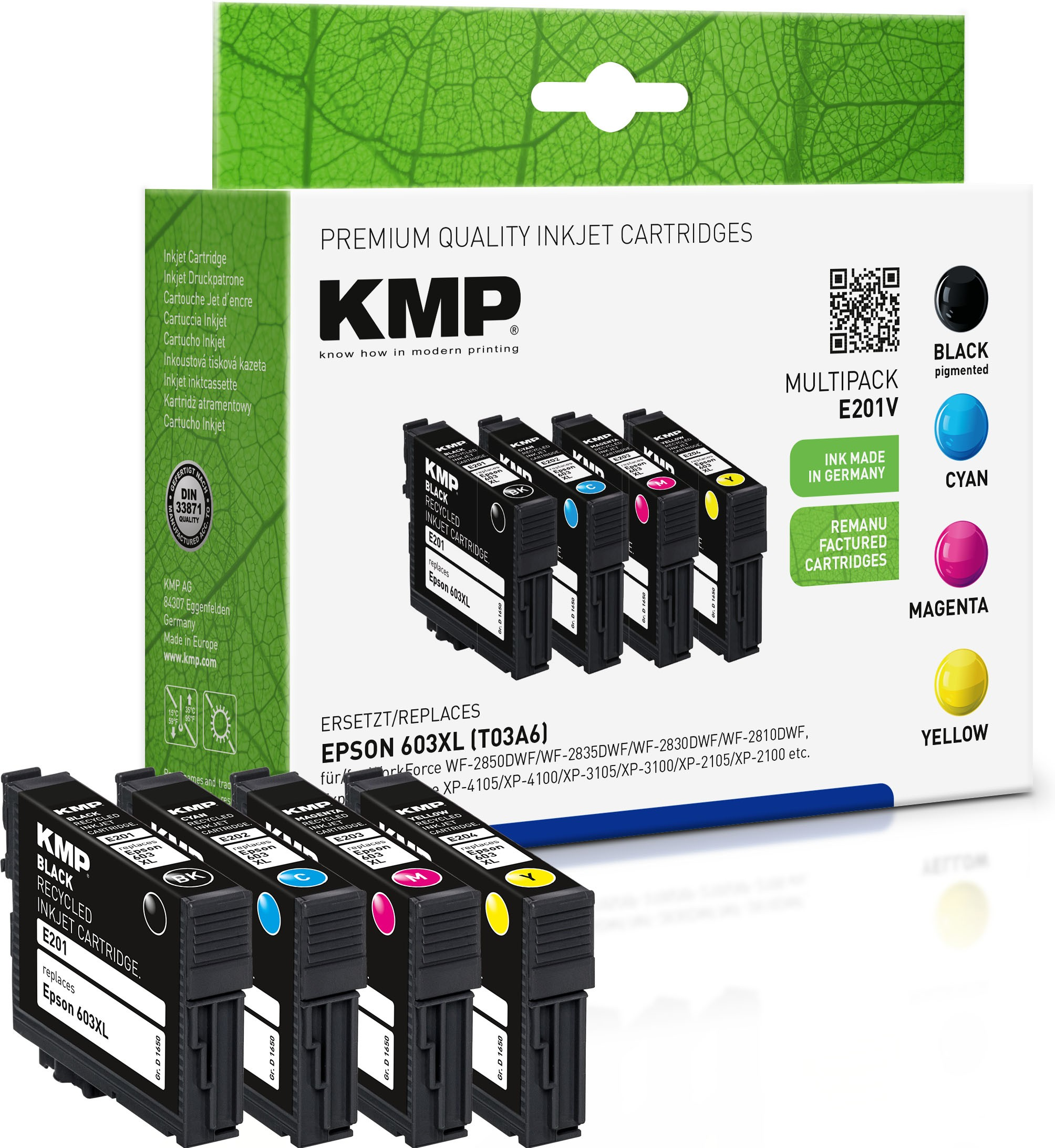 KMP Multipack E201V schwarz, cyan, magenta, gelb Tintenpatronen ersetzen Epson WorkForce 603XL (T03A