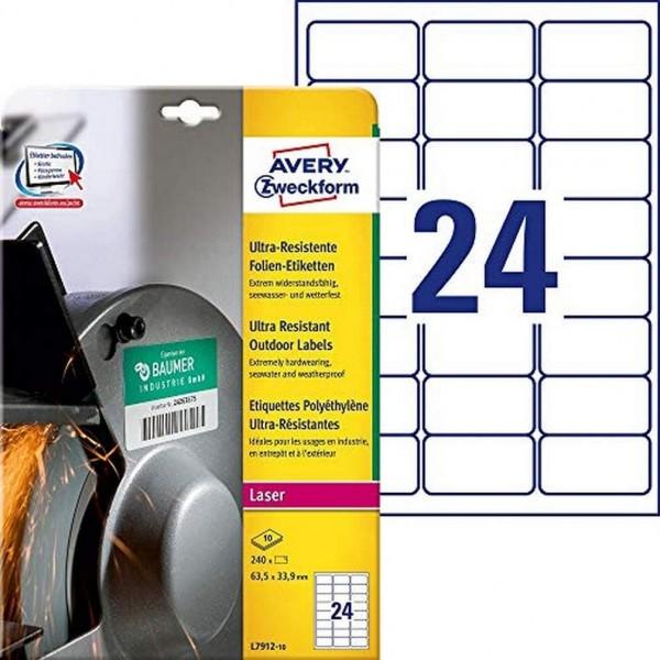 AVERY Zweckform L7912-10 Strapazierfähige Folienetiketten (63,5x33,9 mm auf DIN A4, extrem stark sel