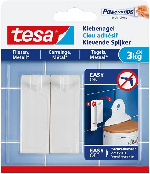 2 tesa Klebenagel für Fliesen und Metall, für max 2x 3 kg