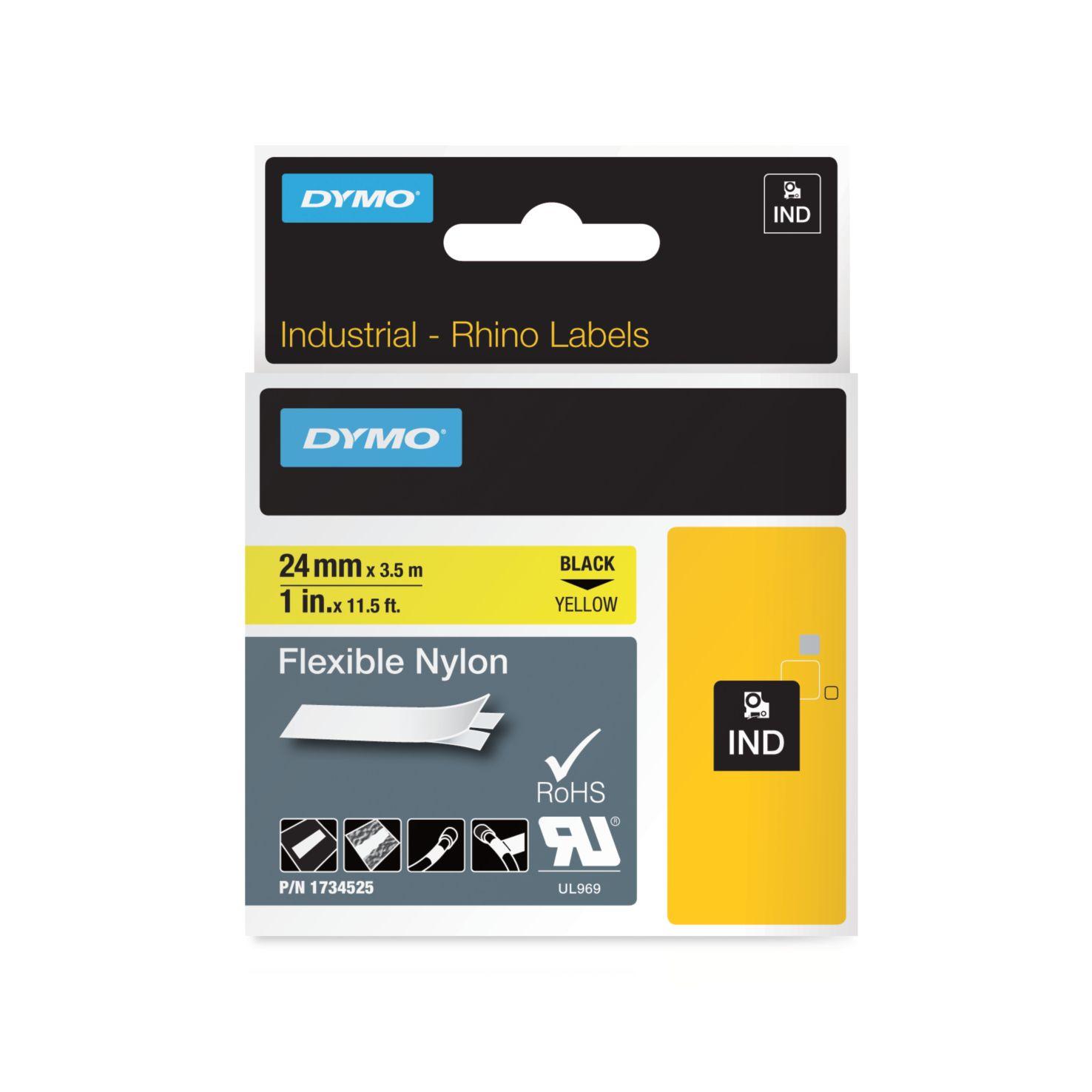 Dymo Rhino-Schriftband Nylon 24mm x 3,5m schwarz auf gelb